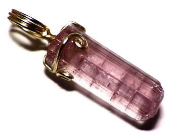 Green-Pink Watermelon Tourmaline Crystal Pendant in 14k Yellow Gold Wire Wrap (9.25 ct) Pink Tourmaline Necklace, Real Watermelon Jewelry