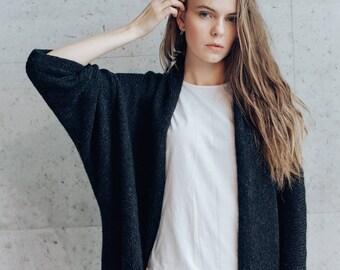 Women's Kimono Cardigan Jacket. Oversized Alpaca Merino Wool Cardigan. Dark Grey/Light Grey/Beige Knitted Overcoat.
