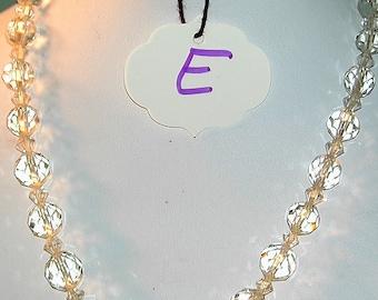 Art Deco Era Pressed Glass Necklace w/ Rhinestone Clasp  #E