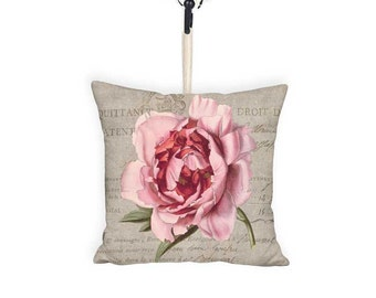 10x10 Inch READY TO SHIP - Pink Peony Door Hanger Pillow - Wall Hanger Decor - Gift Basket Pillow - Small Pillow - French Cottage Farmhouse