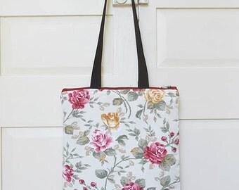 Tote bag, shoulder bag, zippered tote bag, shopper, vegan, upcycled, eco-friendly, flower, rose floral, made in barcelona