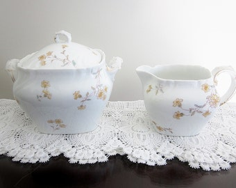 Antique Limoges Haviland China Fine Porcelain Cream And Sugar Set 1891 CFH/GDH Mark Schleiger 372-3 Yellow Flowers Charles Field Haviland