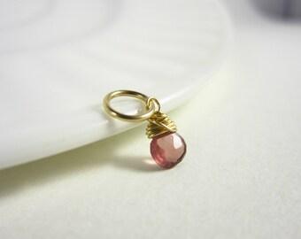 H - Tiny Purple Pink Tunduru Sapphire Pendant - Sapphire Jewelry - Natural Stone Jewelry - September Birthstone Charm - Healing Crystals