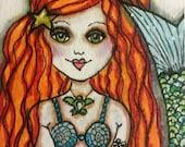 CHLOE, Mermaid Art Wall Decor, Soulful, Free Spirit Girl, ACEO print, Girl Art, Mini collectible Art, ACEO Girl Art, Red Hair Girl Mermaid