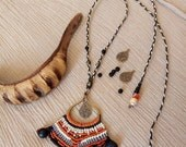 Free your mind crazy orange black  macrame necklace beaded with black wooden beads