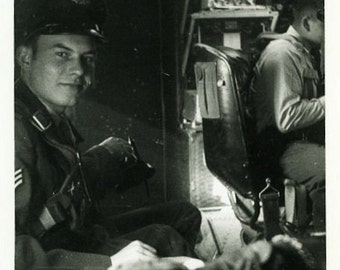 """Vintage Photo """"Smiles From the Plane"""" Military Soldier Man Airplane Handsome Boy Uniform Transportation Vernacular Snapshot Photograph - 18"""