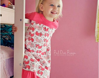 Dreamland Nightgown Sewing Pattern: Girls Nightgown Pattern, Long Nightgown Pattern