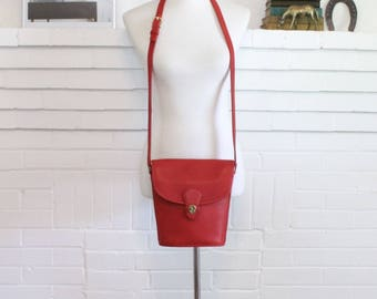 Vintage Coach Bag // Crossbody Bucket Bag Red // Coach Binocular Bag Handbag Purse //