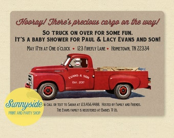 Sock monkey baby shower invitation, retro baby shower invite, boy shower invite, truck baby shower, vintage style