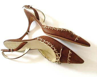 PRADA Stiletto Slingback Pumps ~ 90's Prada Brown Leather Whipstitched Shoes ~ Size 6.5