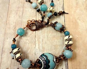 Boho Rustic Bracelet, Artisan Bracelet, Golem Studio Ceramic, Blue Boho Bracelet, Gemstone Bracelet, Gemstone Bracelet, ooak jewelry