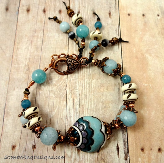 Boho Rustic Golem Studio Ceramic Angelite Bone Copper Waxed Linen Bracelet