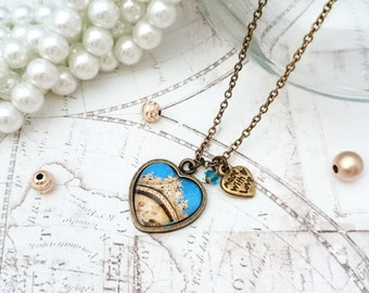 Travel Necklace - Photo Necklace, Image Necklace, Heart Shaped Necklace, Italy Necklace, Traveler necklace , Vacation Necklace
