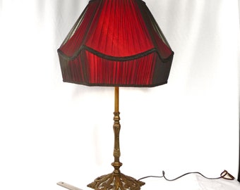 ON SALE Lamp Shade Hand Made Pleated Black Silk Chiffon Over Red Shantung Silk