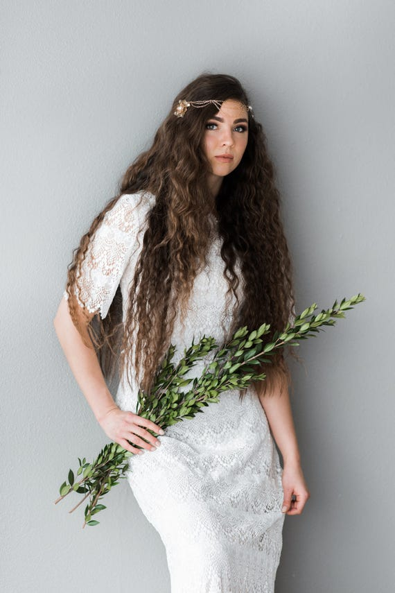Bridal Headpiece, Head Chain, Bridal Hair Chain, Bohemian Head Chain, Gold Pearl Hair Chain, Gold Drape Hair, Freshwater Pearl HIGH COUNTRY