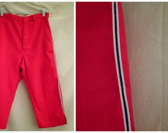 SALE Vintage 1950's Pants Red Capri Pants Pedal Pushers Deadstock Red White and Blue 26 waist Rockabilly
