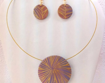 Grey and Peach Sunburst Necklace and Earring Set