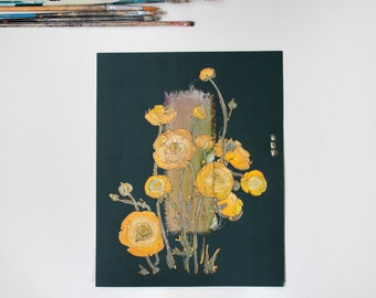 Yellow Ranunculus on deep green - Naples yellow globeflowers - Painting on paper and fabric - original floral art - emerald olive green OOAK
