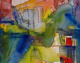 Abstract Painting Original  The Underground  Bright Colors abstract city Carlie DeGaetano