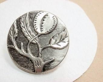 Peach tree Button, 32mm, Fruit Branch Twig, Silver-tone Metal, Vintage Georgia Coat Button
