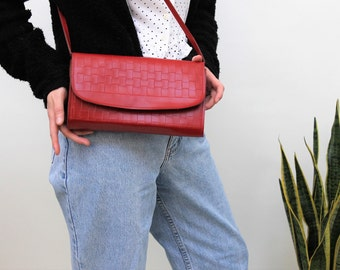 Red Plaited Faux Leather Handbag