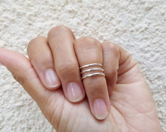 Triple Wrap Knuckle Ring. Sterling Silver Midi Ring. Coil Ring Band. Mid Finger Wrap Ring. Pinky Ring. Wrap Around Ring. Simple Statement