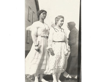 """Vintage Photo """"Ghost of Easter Past"""" Hooded Figure Behind Girls In Easter Dresses 1916 Snapshot Blurry Motion Collar Found Original Photo"""