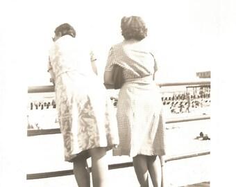 """Vintage Snapshot """"Boardwalk View"""" Ocean Sandy Beach Women Rear Back View Found Photo"""