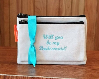 Cosmetic Bag Will You Be My Bridesmaid Gift Set of 2