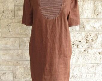 Minimalist Dress Oscar de la Renta Modern Dress Small Size 4 Brown 80's Dress Earth Tones Linen Dress