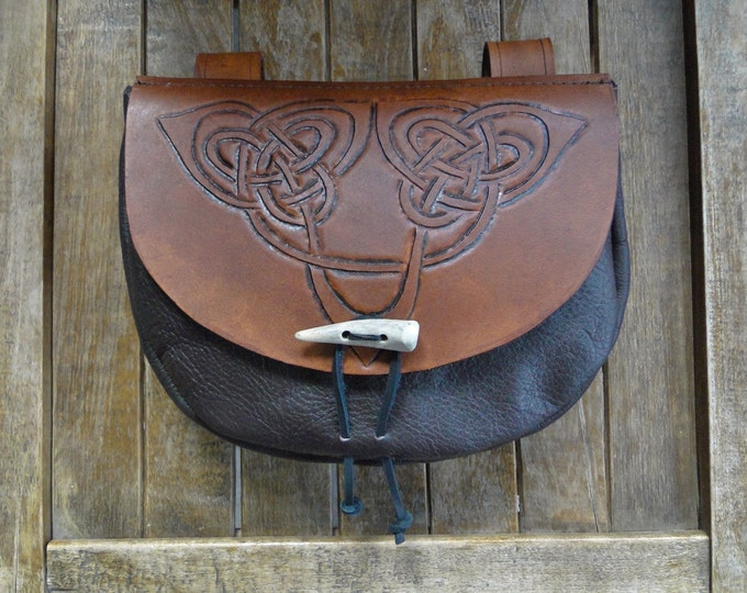 Celtic Knot Leather Pouch, Medieval Renaissance Belt Bag, Tooled - Deluxe