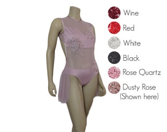 Skirted mesh leotard with appliques - choose your colors - skirted leotard - sweetheart open back - dusty rose