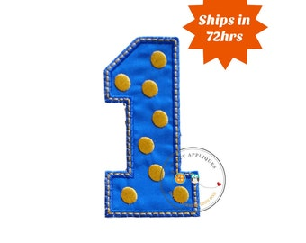 Blue block number one with embroidered gold dots, fabric iron on applique, machine embroidered iron on number 1 patch for kids, pre-made