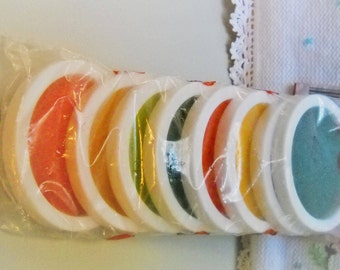 Vintage Plastic Coasters, Rainbow Foam Coasters, 8 NOS Drink Coasters, Mid Century Bar, Retro Kitchen Accessory, Party Coasters in Package