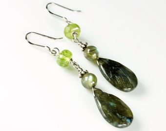 Labradorite Earrings, Peridot, Sterling Silver, fine dangle earrings with green gemstone, boho earrings, gift for her, semiprecious stones