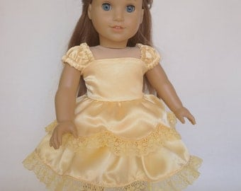 """18"""" Doll Dress Princess Belle - Yellow Satin Ball Gown - Beauty and the Beast - Made to Fit Dolls Like American Girl Doll - 18 inch Clothes"""