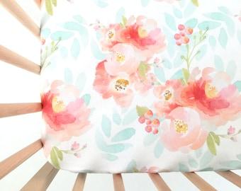 Crib Sheet Pink Plush Floral. Fitted Crib Sheet. Baby Bedding. Crib Bedding. Minky Crib Sheet. Crib Sheets. Floral Crib Sheet.