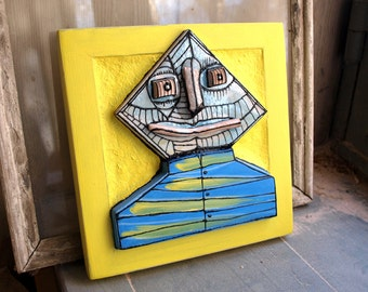 Crazy art sculpture, Mixed media art, Ceramic face, Alien sculpture, Crazy art, Colorful sculpture, wall sculpture,  abstract figure
