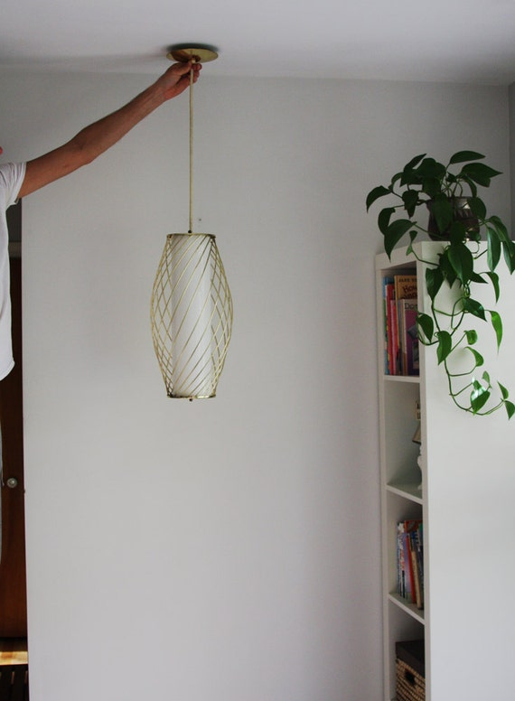 Mid Century Modern Brass Glass Hanging Ceiling Pendant Lamp
