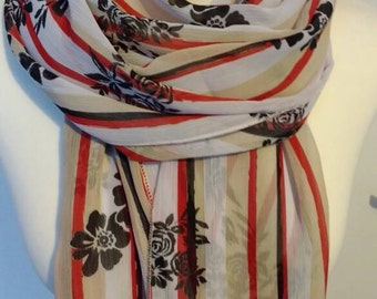 A stripey and floral floaty chiffon scarf