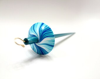 Twister drop spindle -  Circus Edition - Top whorl with gold pleated hook - Spinning Mermaid Spindles