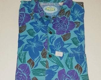 Vintage 80s tropical shirt /  button up down / denim camp / novelty print / ethnic Hawaiian surf skate / Pacific Coast Highway / M 15 15.5