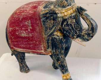 Indian Hand Carved Wood Elephant