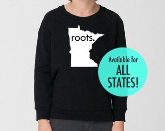 All States 'Roots' or 'Made' Toddler Kid California Fleece Sweatshirt - Black Sizes 2, 4, 6