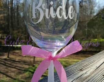 Personalized Glitter Wedding 20oz Wine Glass