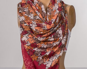Red and Orange and Mink Cats Scarf. Long Animals Scarf Wrap. Spring neck wrap shawl. NEW Women neck wrap.