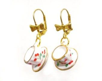 Tea Cup Earrings, Teacup Earrings, Tea Gifts, Tea Lover Gift, Tea Party Outfit, Tea Party Favors, Dangle Earrings, Tea Jewelry, Tea Time