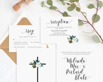Christian Wedding Invitation • Christian Marriage • Religious Wedding Invitation • Forever and Ever Amen
