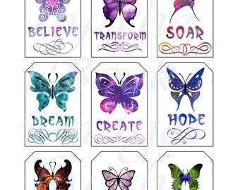 Butterfly Printables, GIFT TAGS (2 x 3 inches)