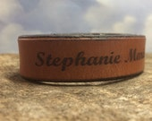 Engraved Leather Name Bracelet, Personalized Bracelets, Custom Name Bracelet, Engraved Gifts, Choose Your Text, Custom Leather Bracelet